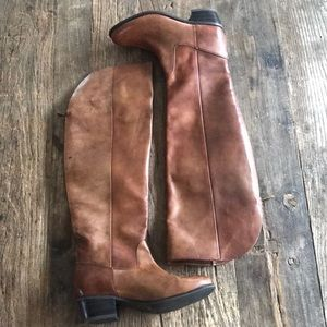INC Beverley Brown Leather Boots Size 6.5
